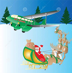 Santa sleigh heading toward an airplane